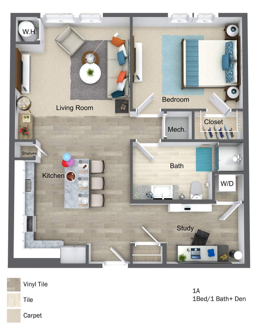One Wall Street 3D One Bedroom floor plan