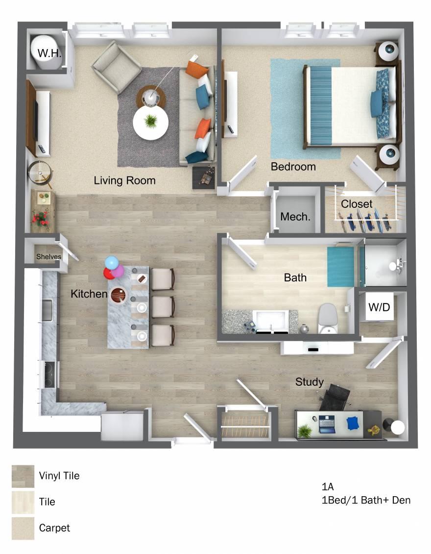 One Wall Street 3D One Bedroom floor plan