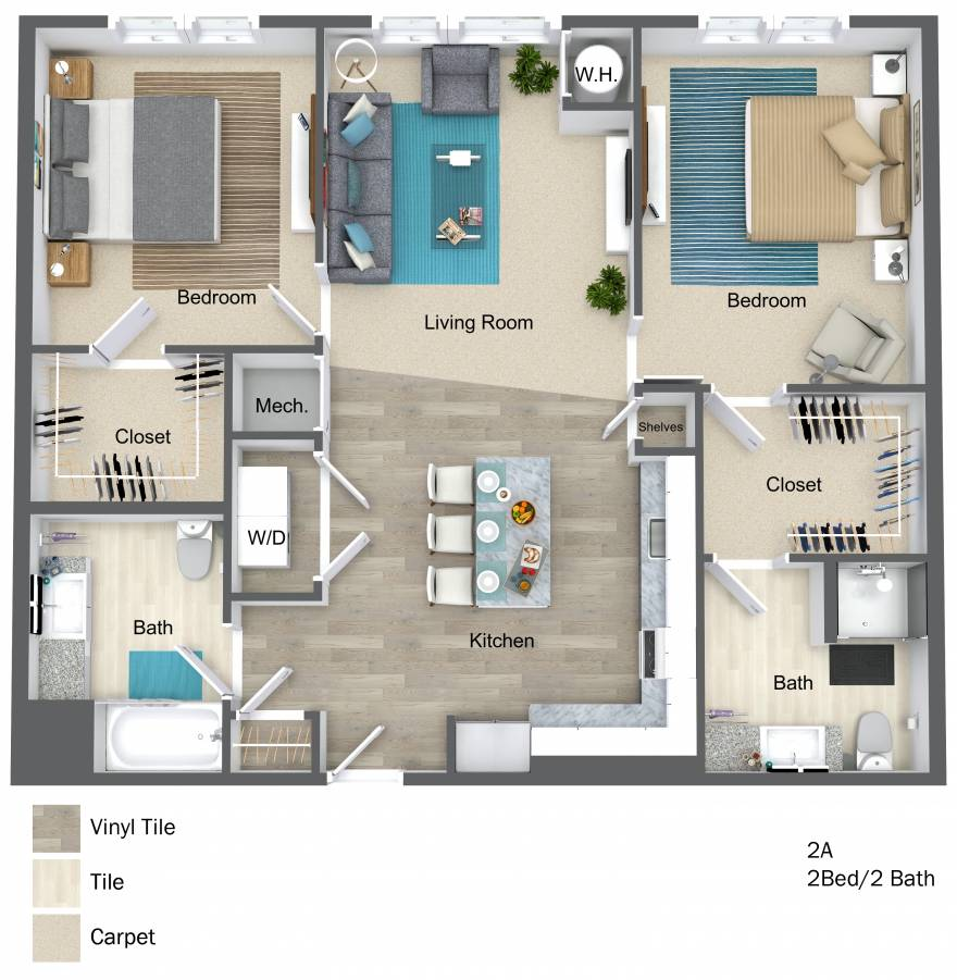 One Wall Street Two Bedroom 3D floor plan
