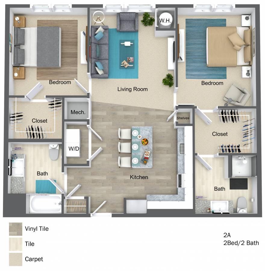 One Wall Street Two Bedroom 3D floor plan