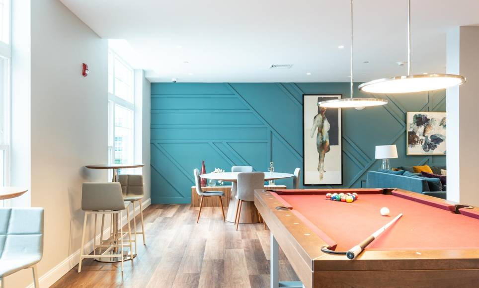 Pool table at the resident lounge, One Wall St apartments