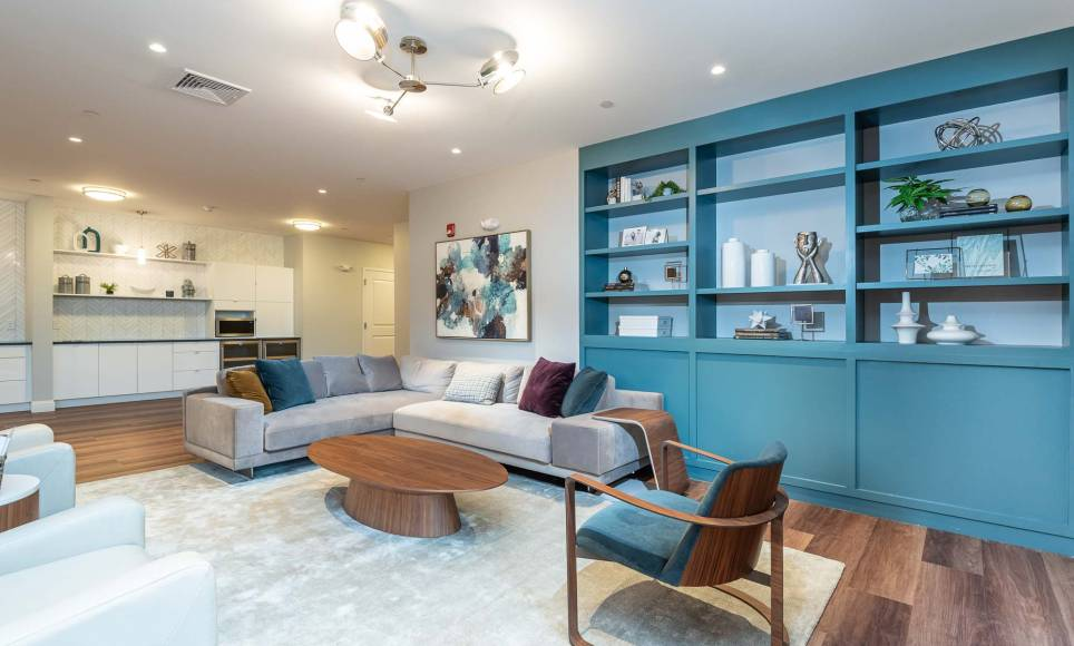 Resident lounge with entertaining kitchenette at One Wall St