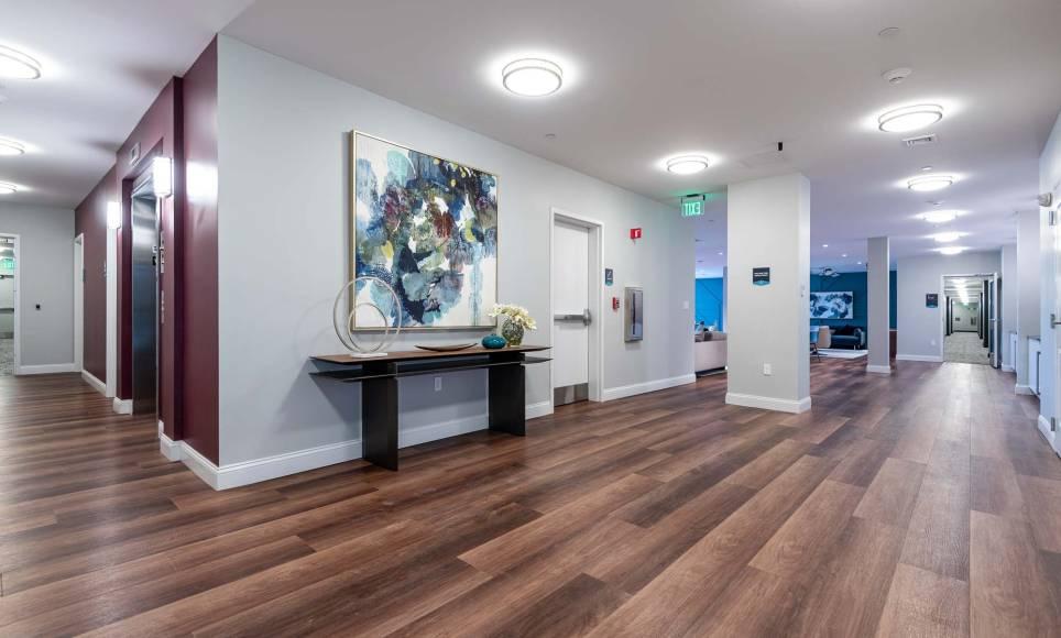 Main lobby at One Wall St Apartments