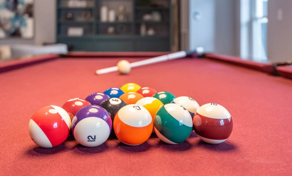 Close-up of the pool table at One Wall St Apartments